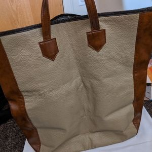 Vintage 80s/90s large faux leather tote bag